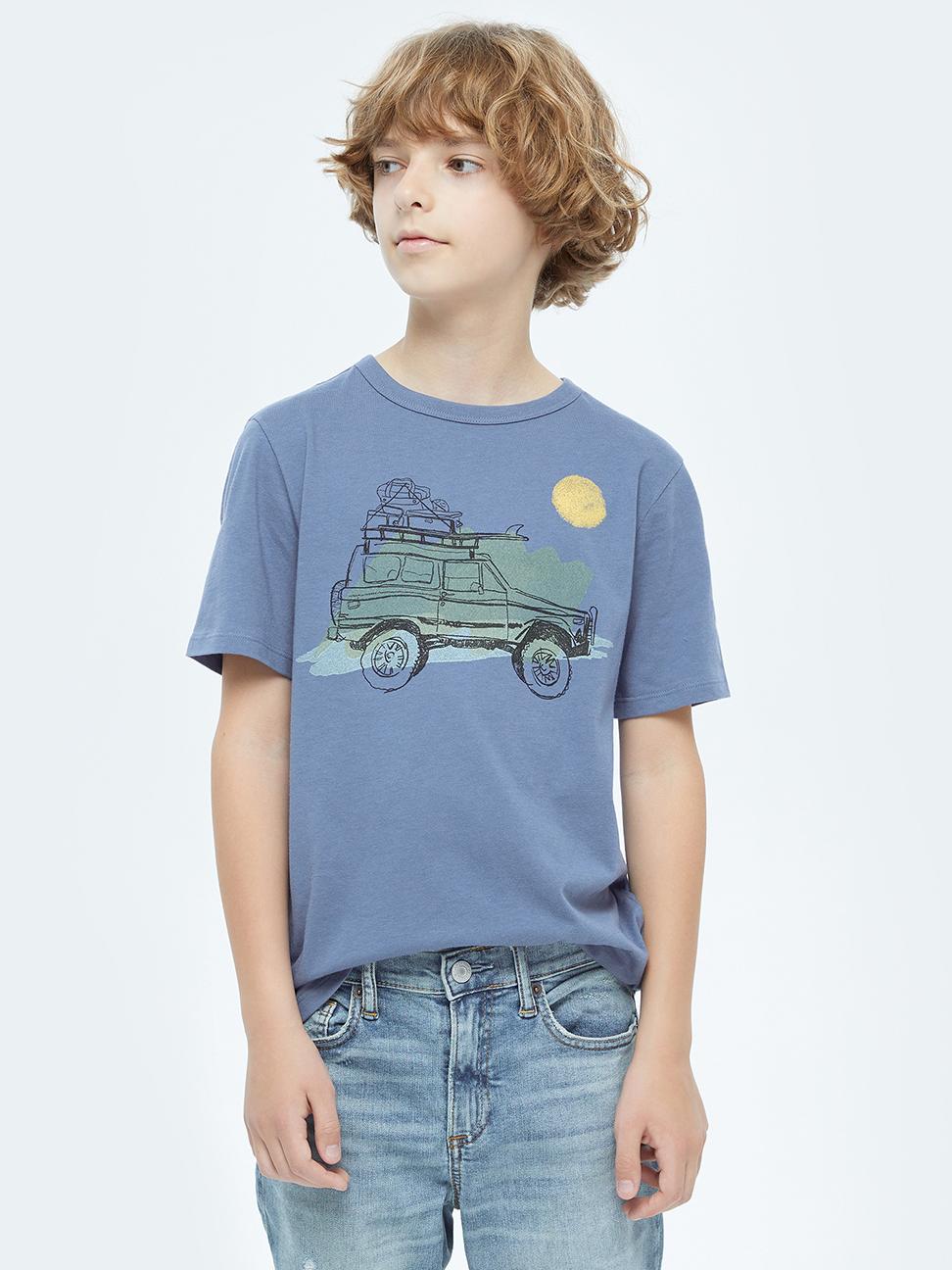 男童 純棉童趣印花短袖T恤