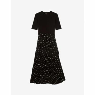 マージュ MAJE レディース ワンピース ミドル丈 ワンピース・ドレス Star-patterned crepe midi dress BLACK WHITE