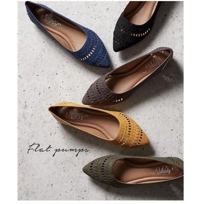 パンプス レディース パンチング デザイン フラット 靴 22.0〜22.5/23.0〜23.5/24.0〜24.5/24.5〜25.0cm ニッセン