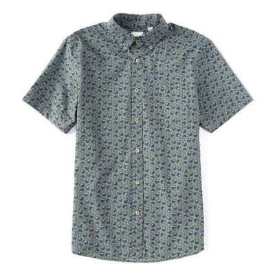 ロウン メンズ シャツ トップス Short-Sleeve Coconut Printed Sportshirt Balsam Green