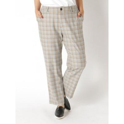 【大きいサイズ】【超割セール中】裏起毛チェック9分丈パンツ 大きいサイズ パンツ レディース