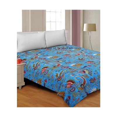 Hand Made Cotton Indian Kantha Quilted Kantha Quilt Bed Spread Blanket Throw Indian Queen Size