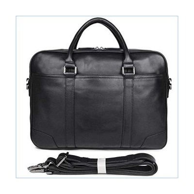 JUROUXIYUJIN Men's Genuine Leather Briefcase Men's Handbag 15 inch Computer Bag Business Men's Bag Single Main Bag Black Briefcase (Color : Black, Siz