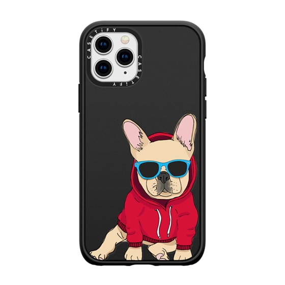 CASETiFY iPhone 11 Pro Casetify Black Impact Resistance Case - Hipster Frenchie - Fawn