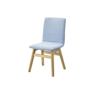 ダイニングチェア/食卓椅子 2脚セット 〔ライトブルー〕 幅43cm 木製 ウレタン塗装 ポリエステル 〔キッチン 台所 店舗〕