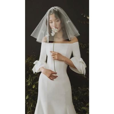 ウエディングドレス マーメイド 白 袖あり 花嫁 結婚式 二次会 パーティードレス ブライダル ロングドレス 2020秋冬新品 披露宴 旅行 韓国挙式 ファッション