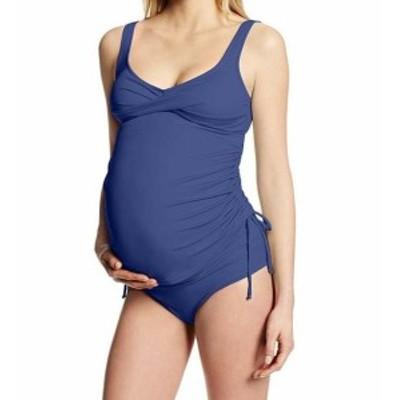 スポーツ用品 スイミング Prego Womens Blue Size Medium M Maternity Ruched Tankini Swimsuit