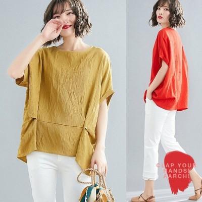 大きいサイズ トップス レディース ファッション ぽっちゃり おおきいサイズ 対応 タック フレア ドルマン プルオーバー オーバーサイズ M L LL 3L 春夏
