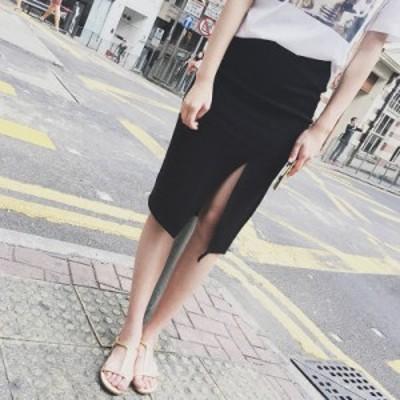 スリット 膝丈スカート 黒 グレー 夏 大きいサイズ ウエストゴム ショートパンツ付き 韓国系 ファッション モノトーン トレンド 夏服