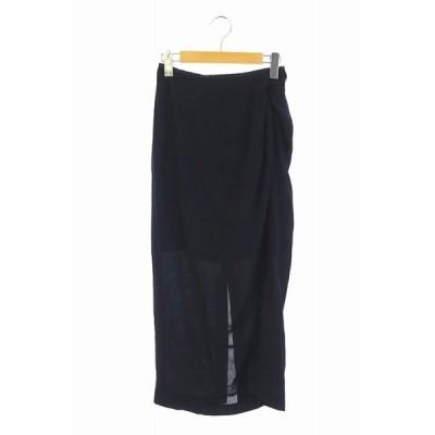 【中古】未使用品 マメクロゴウチ  Mame Kurogouchi 20SS Melange Stripe Draped Skirt スカート ロング タイト 1 紺 /AO ■OS レディース 【ベクトル 古着】