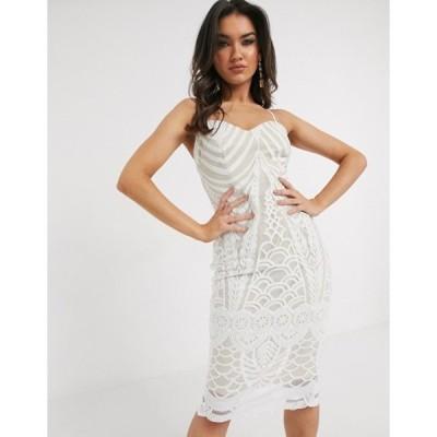 ガール イン マインド レディース ワンピース トップス Girl In Mind lace midi dress in white