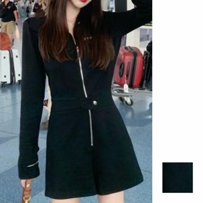 韓国 ファッション レディース オールインワン サロペット 夏 春 秋 カジュアル naloH793  ジップアップ ウエストマーク ショートパンツ