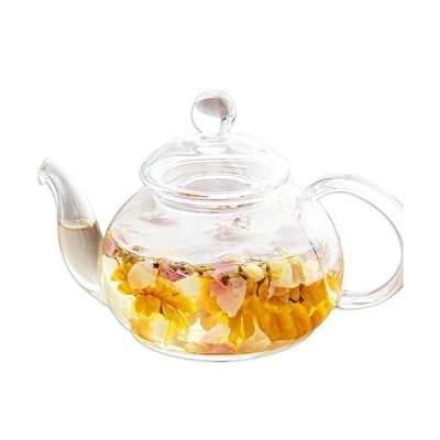 ティーポット 耐熱ガラス 中サイズ 満水:約600ml 茶こし付き 紅茶 電子レンジ対応 シンプル