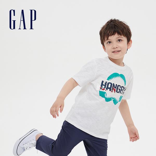 Gap 男童 棉質舒適圓領短袖T恤 541073-白色