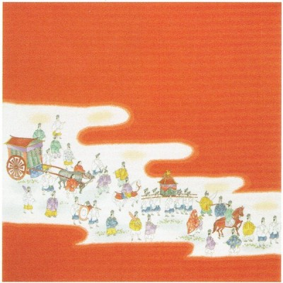 正絹ちりめん友仙ふろしき「時代祭(朱)」二巾 9号 約68cm(菓子折り、ワイン包みに) 有職22-010001