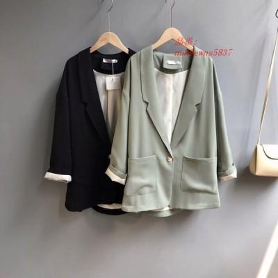 イングランドスタイル 女性ブレザー長袖シングルボタンエレガントなカジュアルグリーン夏薄型コート グループ上 レディース衣服 から ブレザー 中
