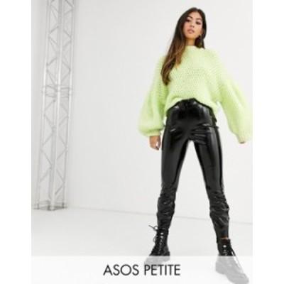 エイソス レディース カジュアルパンツ ボトムス ASOS DESIGN Petite spray on vinyl pants Black