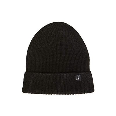 PGA TOUR Men's Recycled Material Beanie Hat, Caviar, One Size【並行輸入品】