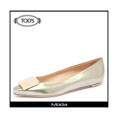トッズ 靴 レディース TODS 靴 ゴールド レザー ポインテッドトゥバレエシューズ