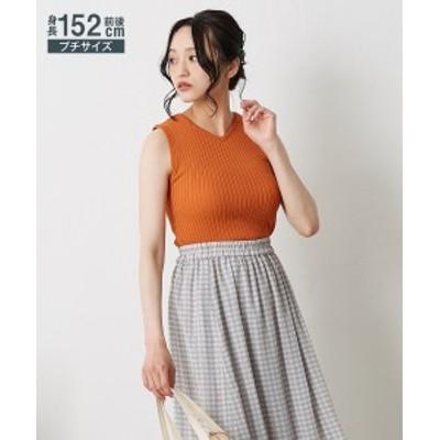 セーター ニット 小さいサイズ レディース 前後 2WAY ノースリーブ オレンジ/ブラック SS/S ニッセン nissen