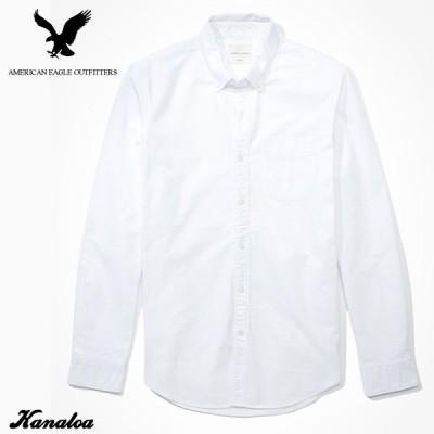 アメリカンイーグル スリムフィット オックスフォードシャツ 長袖 メンズ 無地 ボタンダウンシャツ カジュアル ホワイト 大きいサイズあり