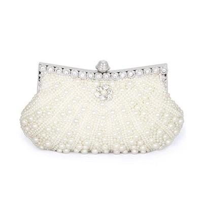 Baglamor Womens Pearl Bead Rhinestone Evening Clutch Fashion Purse with Chain (Beige)【並行輸入品】
