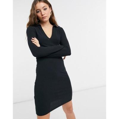 ニュールック ミニドレス レディース New Look soft rib collar mini dress in black エイソス ASOS ブラック 黒
