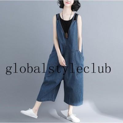 オールインワン デニムサロペット  レディース 体型カバー シンプル ナチュラル 大きい 服 ワイドパンツ きれいめ パンツ 夏