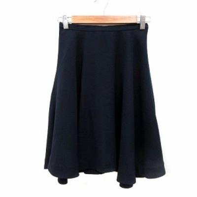 【中古】テチチ Te chichi フレアスカート ひざ丈 S 紺 ネイビー /MN レディース