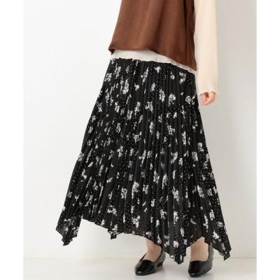スカート 花柄プリーツイレギュラーヘムスカート