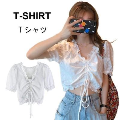 Tシャツ レディース 可愛い おしゃれ ゆったり 無地 シンプル パフスリーブ キレイめ トップス 夏新作