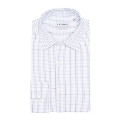ハガール メンズ シャツ トップス Plaid Print Classic Fit Tech Performance Dress Shirt WHITE W/BLUE PLAID