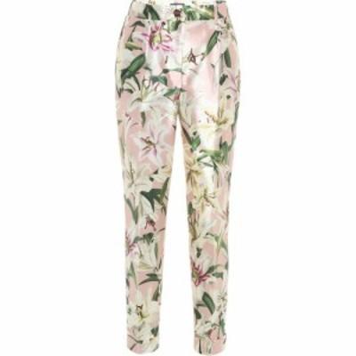ドルチェ&ガッバーナ Dolce & Gabbana レディース クロップド ボトムス・パンツ Mid-rise cropped floral satin pants Gigli Fdo. Rosa