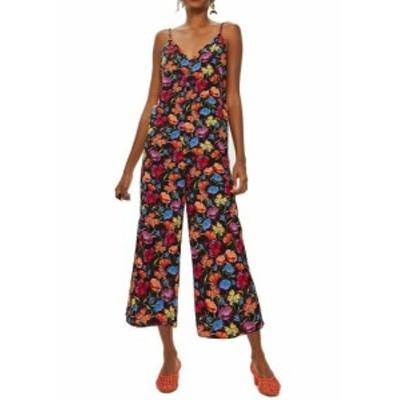 Shop  ファッション ジャンプスーツ Top Shop Womens Black Size 12 Floral Print V-neck Crepe Jumpsuit
