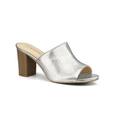 レディース 靴 サンダル Allegra K Women's Open Toe Slide Chunky High Heels Sandals Silver 5.5