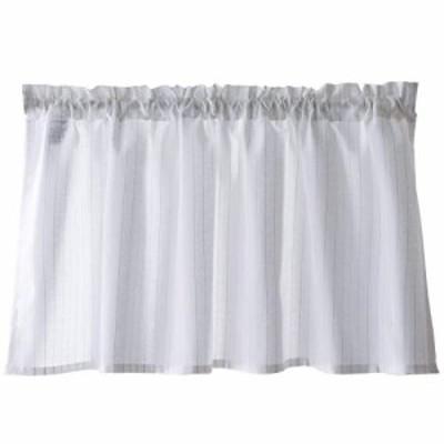 【送料無料】Sunny day fabric カフェカーテン シルヴァ ホワイト 遮像 断熱 UVカット ラメ (幅100丈45cm)