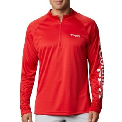 コロンビア メンズ シャツ トップス Columbia Men's Terminal Tackle Quarter Zip Long Sleeve Shirt (Regular and Big & Tall) Red Spar