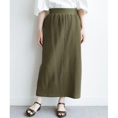 (haco!/ハコ)気軽にはいてもオンナっぽさを忘れない変わりワッフルタイトスカート by MAKORI/レディース カーキ