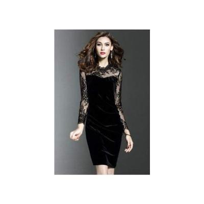 大人 エレガント ベルベット レース お呼ばれ 結婚式 ドレス 2色(Black-3XLサイズ) (ブラック 3XL)