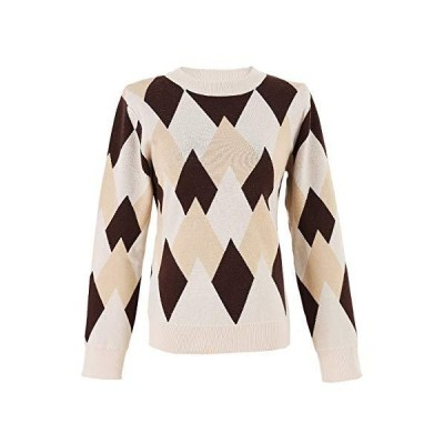 Women's Retro Pullover Loose Casual Round Neck Knitted Sweater Top (Apricot