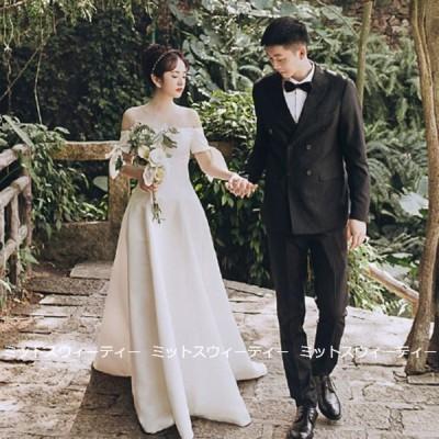 ウェディングドレス 二次会 前撮り 海外挙式 花嫁 ガーデンフォト オフショルダー リゾートドレス 結婚式 ブライダル パーティードレス 後撮り セミオーダー