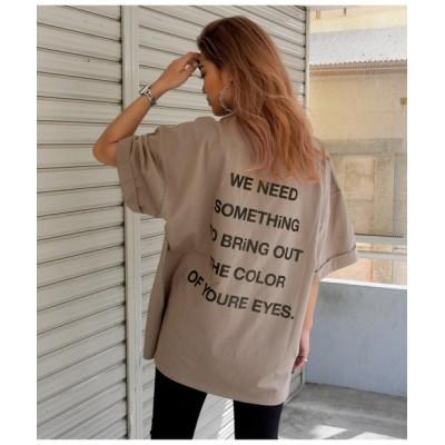 tシャツ Tシャツ プリントロールアップオーバーサイズTシャツ