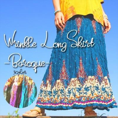 エスニック ロングスカート バロックプリント 3color ゆったりフレアスカート 美シルエット レーヨン素材 アジアン レディースファッション オリエンタル