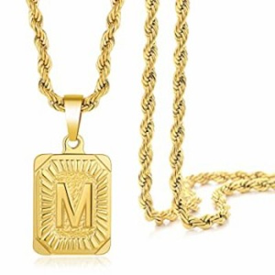 Initial Letter Pendant Necklace Gift for Men Women Capital Letter Stainless Steel with 14K Gold Plated A-Z