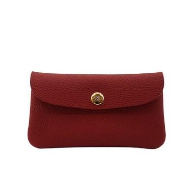 ドイツシュリンク ふっくら 可愛い 長財布 弾力ある革が魅力の カブセ型 本革 レディース 財布 マグネット式(赤)