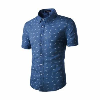 Allegra K メンズ シャツ 半袖 ボタンダウン 綿 ビジネス カジュアル ネイビーブルー XL/46