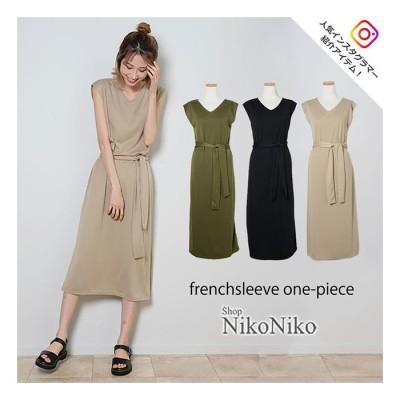 ShopNikoNiko フレンチスリーブロングワンピ  アパレル ワンピース ワンピ フレンチスリーブ ロング Vネック スリット シンプル レディース 韓国ファッション Instagram ブラック フリー レディース