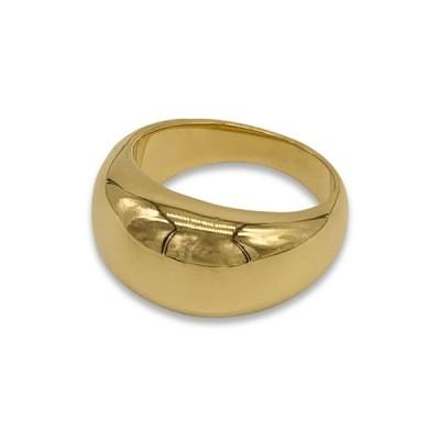 アドニア レディース リング アクセサリー 14K Gold Plated Stainless Steel Dome Ring YELLOW