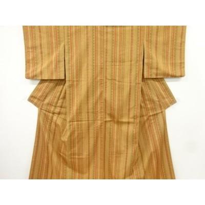 宗sou 縞模様織り出し手織り紬着物【リサイクル】【着】