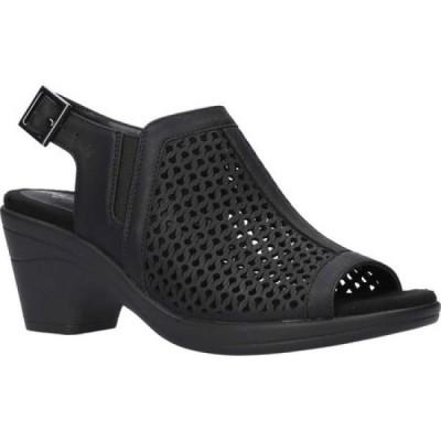 イージーストリート Easy Street レディース サンダル・ミュール シューズ・靴 Riza Slingback Heeled Sandal Black Perforated Synthetic/Gore